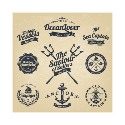 Vector logo Classic nautical stickers logo template